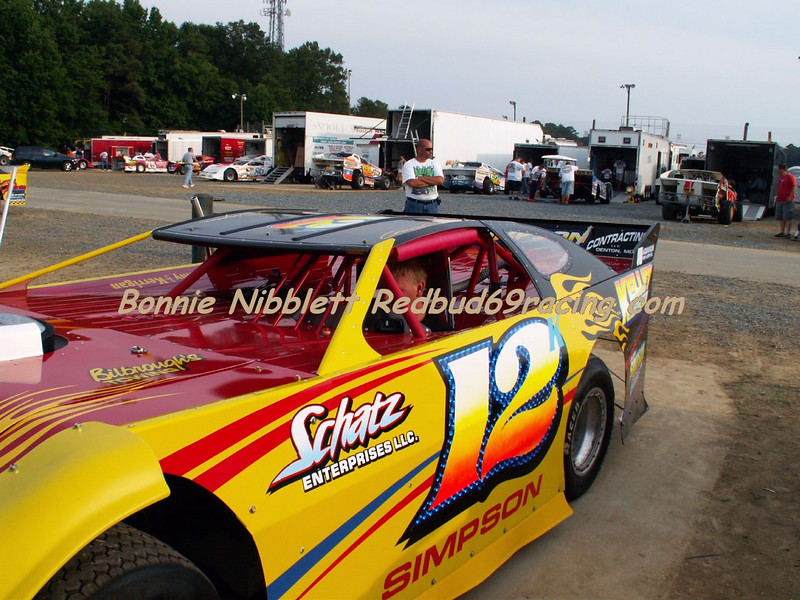 Gary Simpson had his late model there for the first time  on Saturday night.  He had just brought the car on Wednesday for Camp Barnes race only.  Simpson had a good run going int the feature until he got pinned up on the backstretch and had no where to go when a lap car was moving very slow.  The cars suffered some damage  Redbud's Pit Shots July 14, 2007 Delaware International Speedway