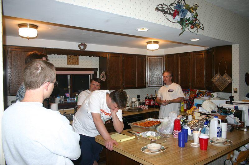 K3LR's kitchen in his shack.  Left to Right KI7WX, K3UA, K1AR, N2NC, K3LR