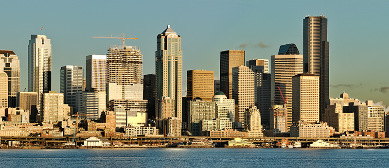 """Seattle Skyline"" Puget Sound, WA  Section: Professional Enlargements Class: Landscapes, City  Place: <b><font color=""white"">3rd</font></b>"