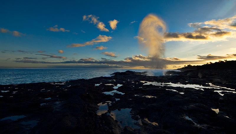 """Sunset on Spouting Horn, Kaua'i"" Kaua'i, HI  Section: Professional Enlargements Class: Seascape/Marine  Place: <b><font color=""blue"">1st</font></b>"