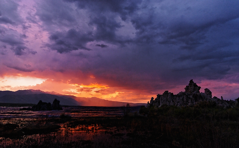 """Sunset and Storm over Mono Lake"" South Tufa at Mono Lake, CA  Section: Professional Enlargements Class: Sunrise, Sunset, Clouds   Place: <b><font color=""white"">3rd</font></b>"