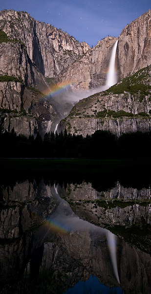 """Yosemite Falls: Lunar Bow and Reflection""<br /> Yosemite Valley, CA<br /> <br /> Section: Professional Enlargements<br /> Class: Yosemite  <br /> Place: Honorable Mention"