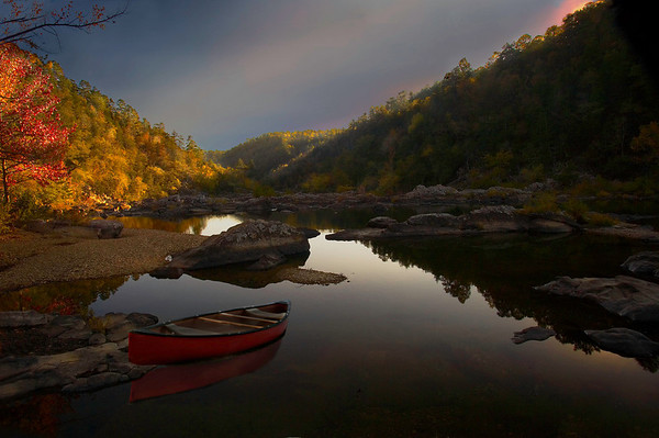 """""""Night falls on Cossatot""""<br /> By Wilfred Smith<br /> Large Color<br /> Score--14 January 2009"""