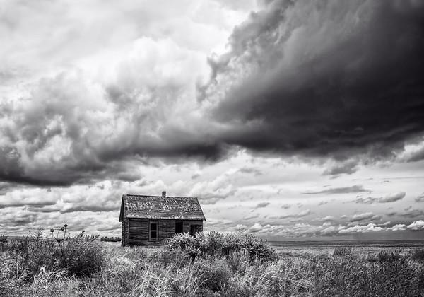 Maker:  Wayne Tabor<br /> Title:  Prairie Cabin in Storm<br /> Category:  Black & White<br /> Score:  13
