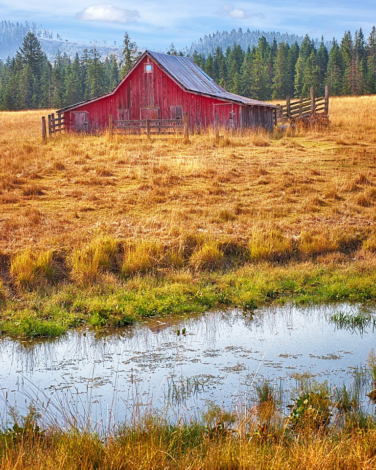 Maker:  Wayne Tabor Title:  Red Barn on Pond Category:  Pictorial Score:  13