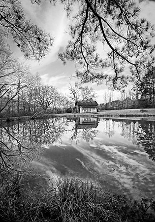 Maker:  Mike Smith<br /> Title:  Alabama Barn Reflection<br /> Category:  Black & White<br /> Score:  12