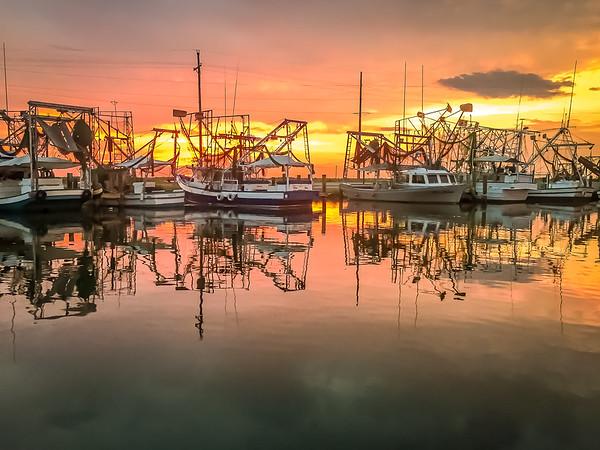 Maker:  Larry Phillips<br /> Title:  Shrimp Boats at Sunset<br /> Category:  Landscape/Travel<br /> Score:  13