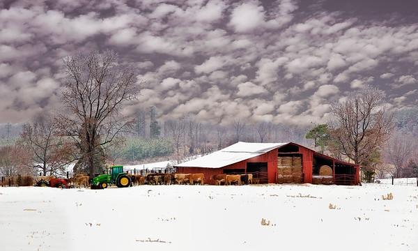 Maker:  Wayne Tabor<br /> Title:  Winter Farm<br /> Category:  Pictorial<br /> Score:  11
