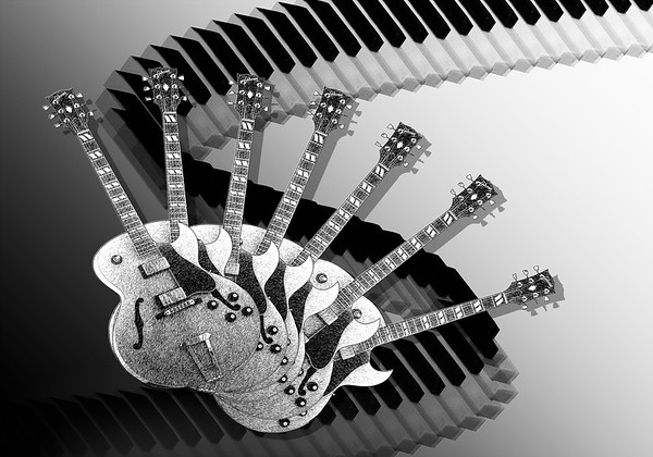 Maker:  Mike Smith<br /> Title:  Keys and Strings<br /> Category:  Black & White<br /> Score:  14