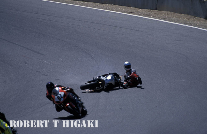 motogp- There are times when they take a spill. good thing - they are wearing all those pads.