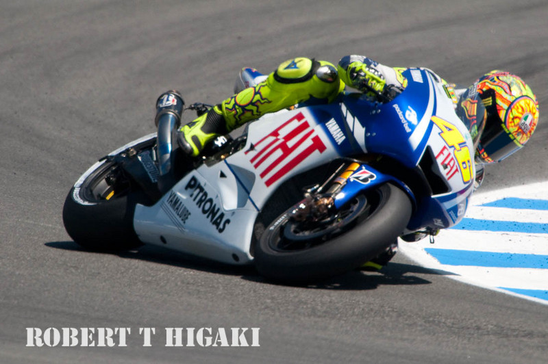 Rossi at turn 11; it is amazing those tires are able to keep grip on the track.