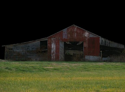 """#5 Angry Barnfellow  Darkened background to bring focus to angry """"face"""" inside barn."""