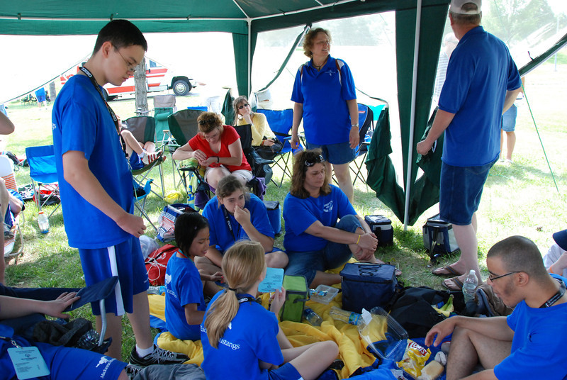 The Madonna School team in their tent.