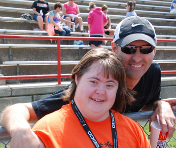 A girl from Hastings and her brother, who drove up from Kansas City to watch her compete.