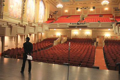 The auditorium of the Herbst Theater as seen from the stage.