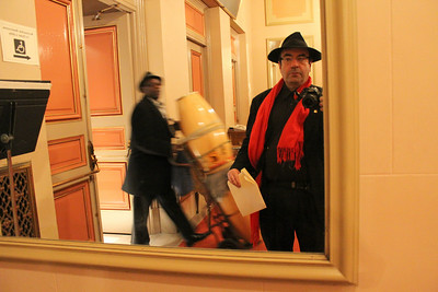 "Don Lockett rolls his drums through the lobby which I capture in this mirror self portrat at the Herbst Theater.  April 21st, 2011 rehearsal at the Herbst Theater, 401 Van Ness Avenue, San Francisco for ""A Night with the Stars"", a talent show and benefit for the Community Housing Partnership."