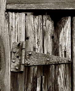 #10 'Old Barn Door Hinge' by Jim M. 9/21/07. Olympus E-510. 50-200mm f 8, 1/80 sec ISO 200 Toned