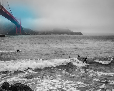 Golden Gate Surfers at Dawn