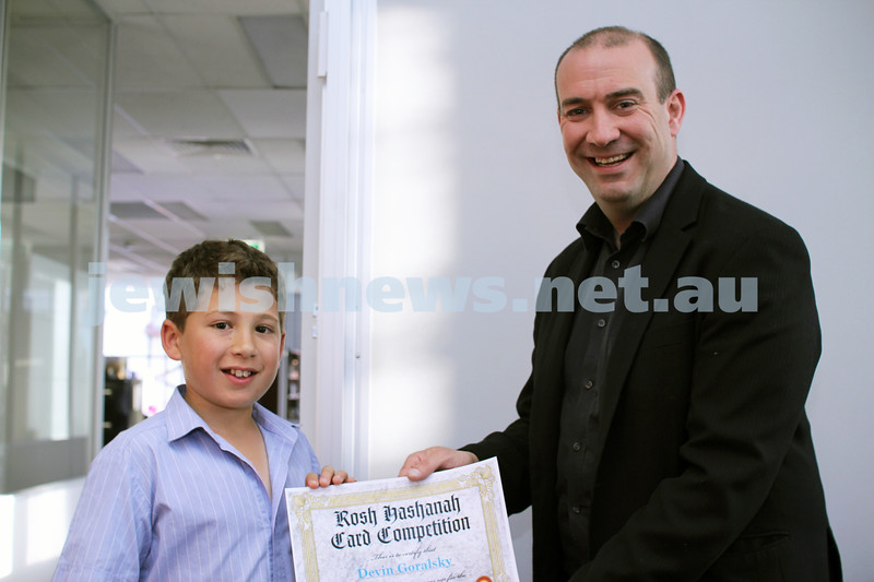 27-10-2011. Rosh Hashanah card competition finalists 2011. Devin Goralsky and Zeddy Lawrence. Photo: Lochlan Tangas