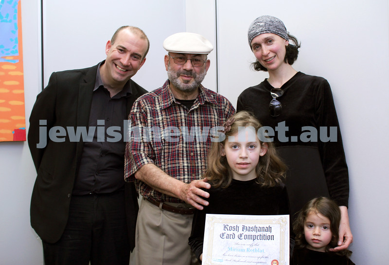 27-10-2011. Rosh Hashanah card competition finalists 2011. Zeddy Lawrence and Rotblat family. Photo: Lochlan Tangas
