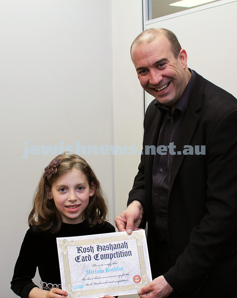27-10-2011. Rosh Hashanah card competition finalists 2011. Miriam Rotblat and Zeddy Lawrence. Photo: Lochlan Tangas