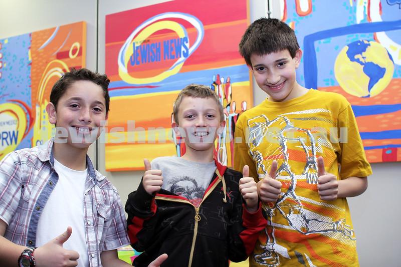 27-10-2011. Rosh Hashanah card competition finalists 2011. Edward Lichtig, Avi Ben-Moyal and Saul Barnett. Photo: Lochlan Tangas