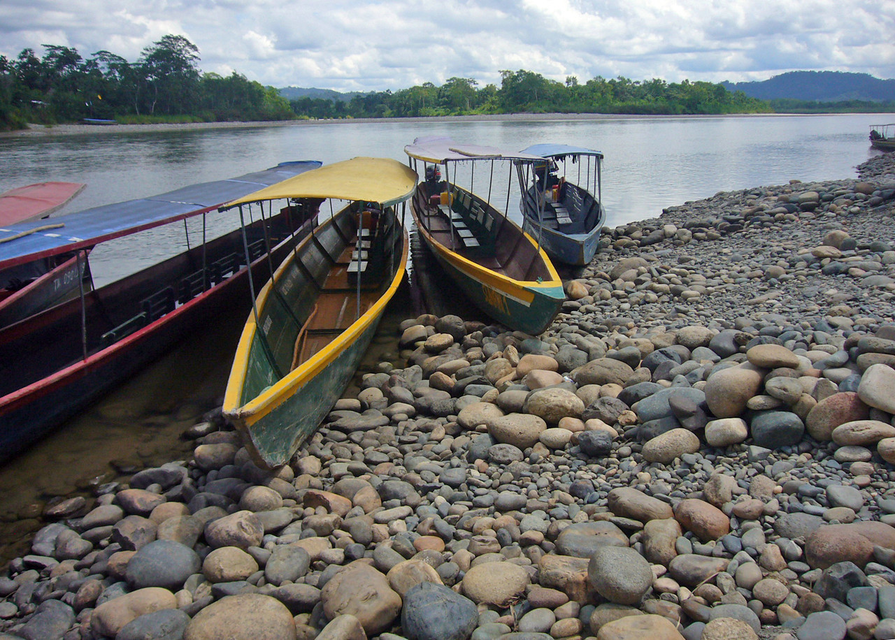 Canoes on the Napo river, in the Ecuadorian rain forest. - William Bezdek