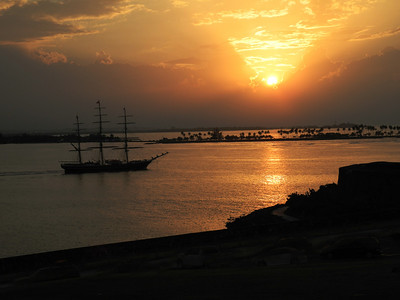 Taken at Old Town in San Juan, PR looking out at harbor at sunset in March 2012. --P/C Wilson Mewborn, SN