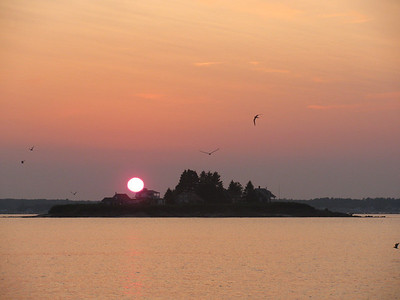 Basket Island sunset viewed from Wood Island Harbor, ME -David K. Akin
