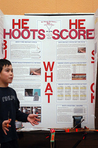 Canadian Martyrs' School Fair ... Nicholas Chong explains his Hockey Stick Project