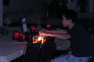 Earth Hour and the lights are off for an hour ... doesn't stop Patrick as he finishes off his Thank You letters under candlelight