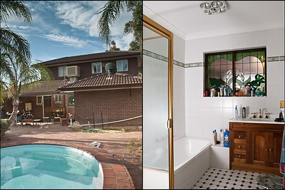 "#3 -  No Title by ??? .... From the Upstairs bedroom and Family room you look over the swimming pool.  The Back door leads out to a large patio and paved area with Several large Palms overlooking the Pool.  .... The Main Bathroom has floor to wall tiles Light Oak wooden doors on the Vanity and a wonderful leadlight window.  Tech info: Outside - GND filter, Natural lighting.  Inside: 1 Off camera Strobe ""hidden"" in the Shower area - camera left."