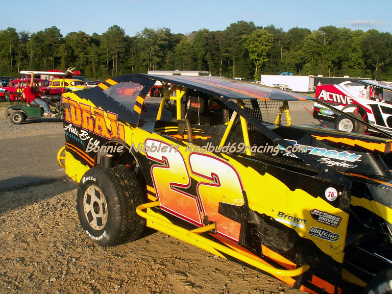 September 1, 2007 Redbud's Pit Shots Delaware International Speedway Rick Wegner first trip to DIS ended in a violent flip, but was okay, the car not so lucky.