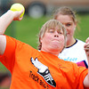 Lisa Vantrease, of Carterville, competes in the softball throw during the Special Olympics Friday morning, April 20, 2012, at MSSU's Fred G. Hughes Field. Globe/T. Rob Brown
