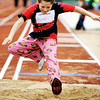 Leandra Gregory, 10, of Carl Junction, competes in the long jump during the Special Olympics Friday morning, April 20, 2012, at MSSU's Fred G. Hughes Field. Globe/T. Rob Brown
