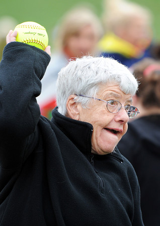 Evelyn E. York, of Cassville, competes in the softball throw during the Special Olympics Friday morning, April 20, 2012, at MSSU's Fred G. Hughes Field. Globe/T. Rob Brown