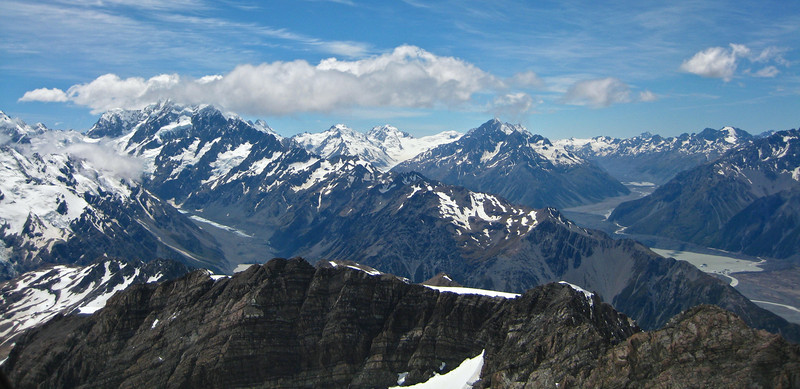 Three glaciers vista from Mount Sealy, looking north over Aoraki Mount Cook National Park.