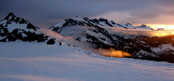 Bonar Fire (Outdoor Landscapes) Sunset on the Bonar Glacier from Colin Todd hut.