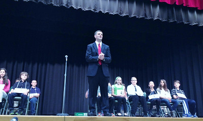 The start of the Boyertown Area Times Sixth Grade Spelling Bee at Boyertown Elementary on Wednesday, April 16.