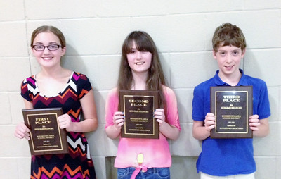 Hannah Feist took first place, Jocelyn Lear took second and Alex Young took third at The Boyertown Area Times Sixth Grade Spelling Bee at Boyertown Elementary.