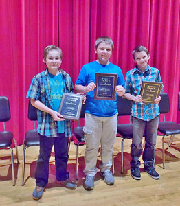 Kyle H. Olszewski took home first place, followed by Ryan P. Sheetz in second and Trent Heflin in third at the sixth grade spelling bee on April 15 at Oley Valley Middle School.