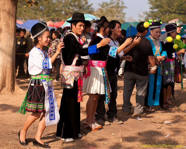 Young Hmong People Play Pov Pob As Part of the Traditional Courtship Ritual