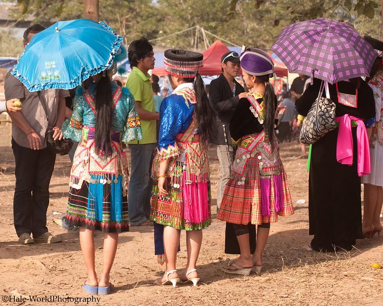 Hmong Young Ladies Playing Pov Pob In Luang Prabang, Laos