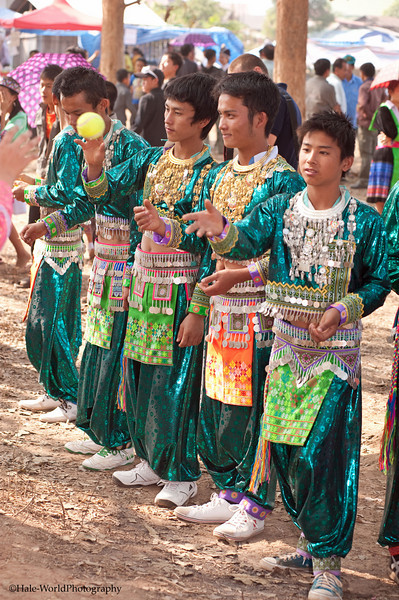 Young Hmong Men Lined Up to Play Pov Pob In Luang Prabang Laos