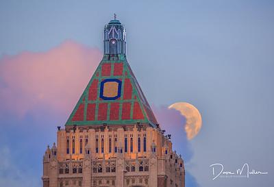 Philtower Moonset at Dawn
