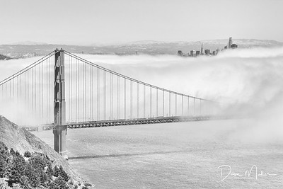 Golden Gate Bridge in the Fog, San Francisco, CA (from Marin Headlands)