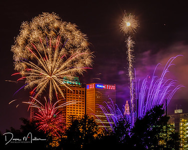 """ONE Gas Building and the Drillers' Fireworks"""
