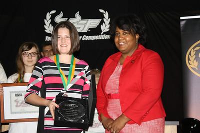 Hannah Fowler receives the Top Trademark Award from former USPTO Trademark Examiner Joyce Ward