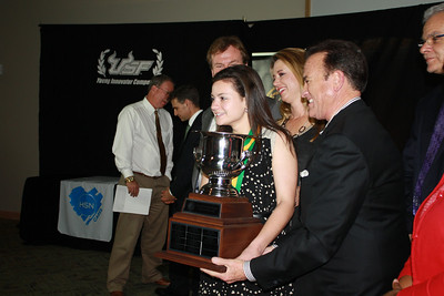 Melissa Feingold holds the USF Young Innovator Cup