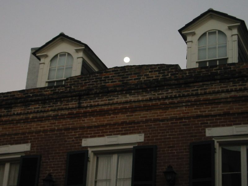 Moonlight over the French Quarter from our room's patio.